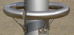 Column-mounted bumpers made of stainless steel
