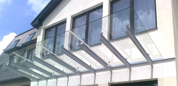 Glass canopies are made of steel profiles